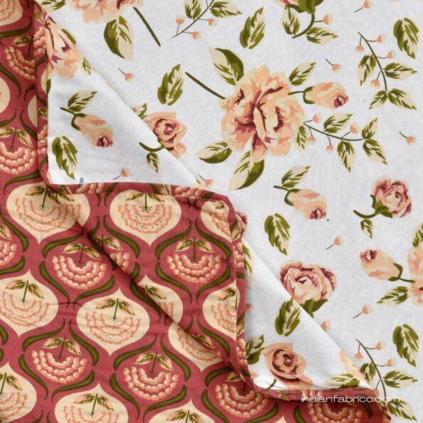 White Base Orange Flower Motif Pure Cotton Reversible Double Bed Dohar Front