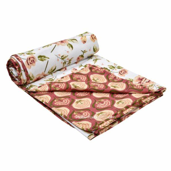 White Base Orange Flower Motif Pure Cotton Reversible Double Bed Dohar Roll