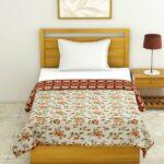 White Base Orange Flower Motif Pure Cotton Reversible Single Dohar