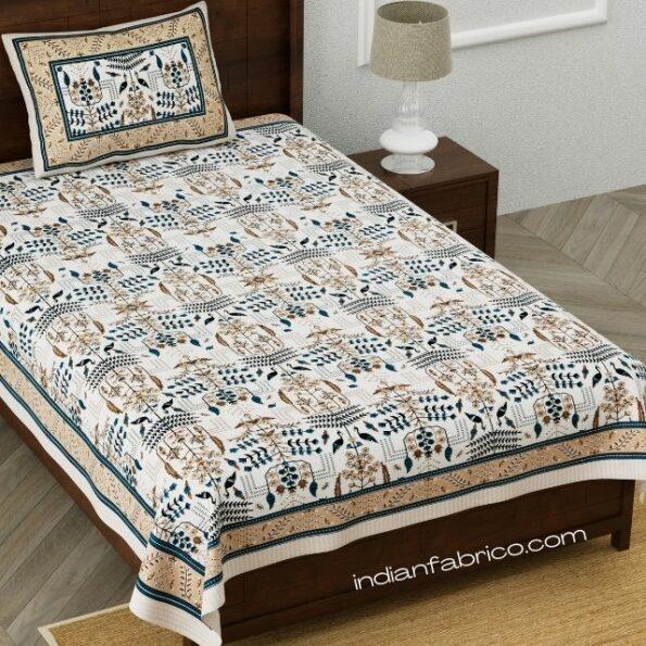 Artistic Modern Grey Brown Jaipuri Print Single Bedsheet