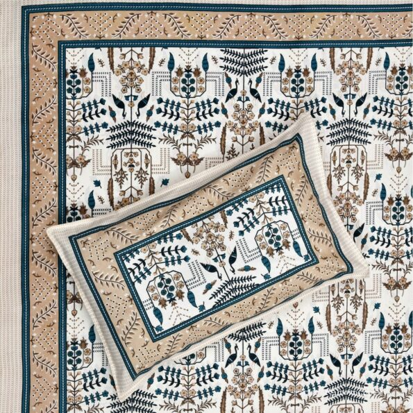 Artistic Modern Grey Brown Jaipuri Print Single Bedsheet Front