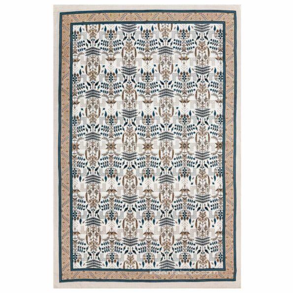 Artistic Modern Grey Brown Jaipuri Print Single Bedsheet Fullview