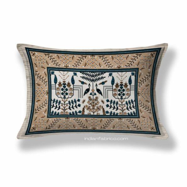 Artistic Modern Grey Brown Jaipuri Print Single Bedsheet Pillow
