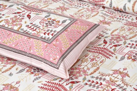 Artistic Modern Pink Cream Jaipuri Print Double Bedsheet Closeup