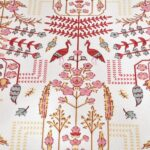 Artistic Modern Pink Cream Jaipuri Print Double Bedsheet