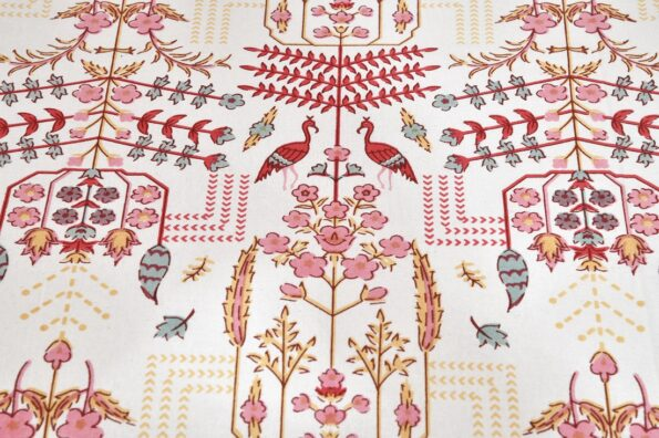 Artistic Modern Pink Cream Jaipuri Print Double Bedsheet Front