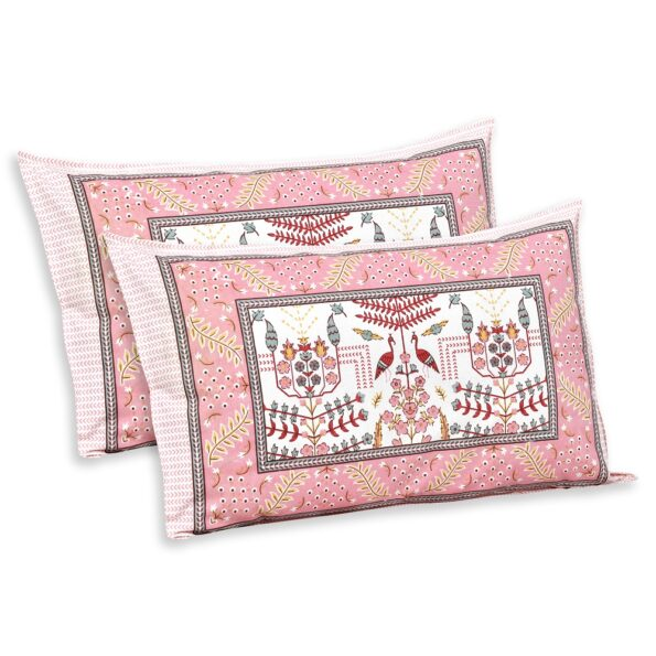 Artistic Modern Pink Cream Jaipuri Print Double Bedsheet Pillows