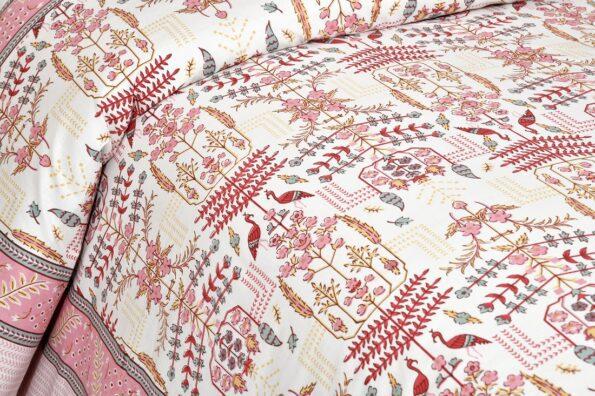 Artistic Modern Pink Cream Jaipuri Print Double Bedsheet Sideview