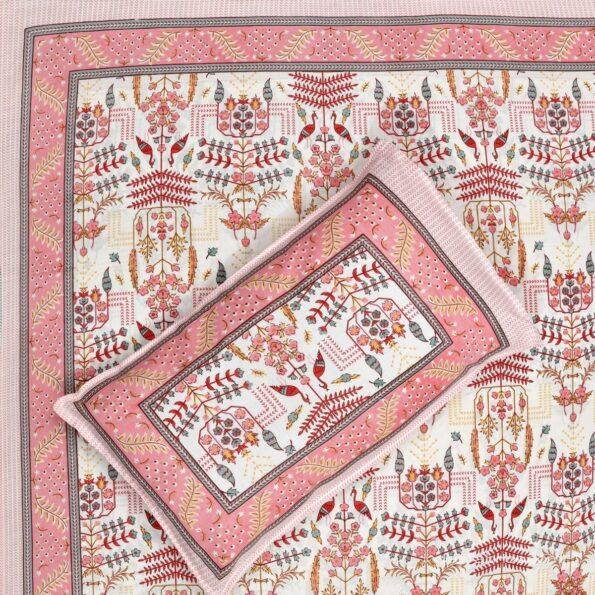 Artistic Modern Pink Cream Jaipuri Print Single Bedsheet Front
