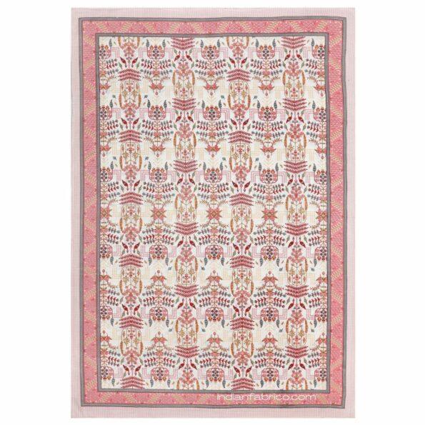 Artistic Modern Pink Cream Jaipuri Print Single Bedsheet Fullview