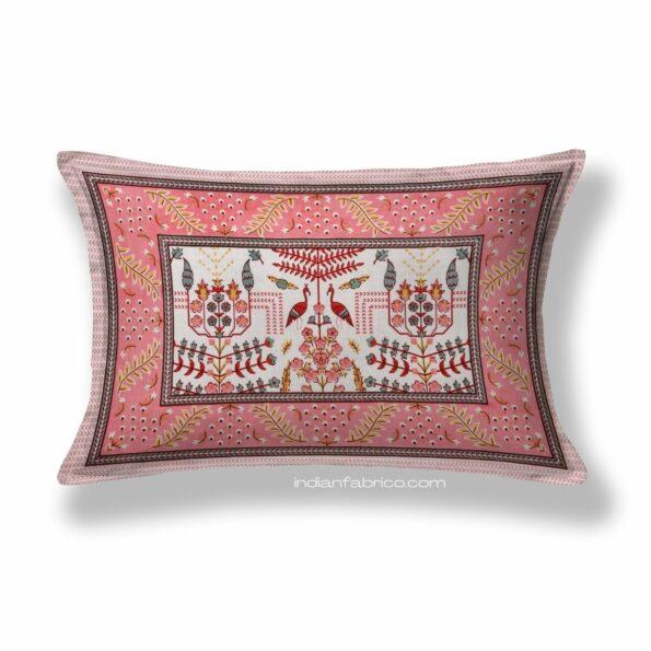 Artistic Modern Pink Cream Jaipuri Print Single Bedsheet Pillow