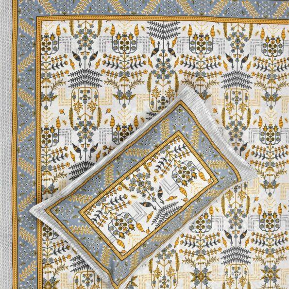 Artistic Modern Yellow Cream Jaipuri Print Single Bedsheet Front