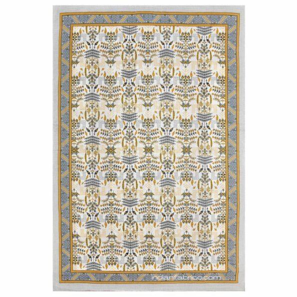 Artistic Modern Yellow Cream Jaipuri Print Single Bedsheet Fullview