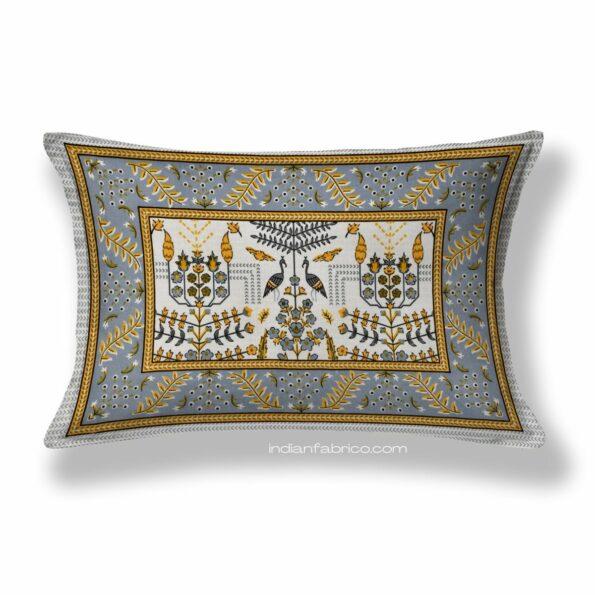 Artistic Modern Yellow Cream Jaipuri Print Single Bedsheet Pillow