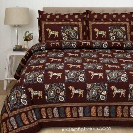 Chocolate Brown Discharge Horse Rajwada Printing King Size Bedsheet