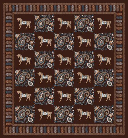 Chocolate Brown Discharge Horse Rajwada Printing King Size Bedsheet Fullview