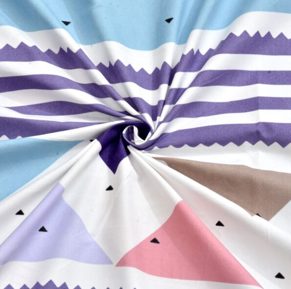 Colorful Triangles Skyblue Supersoft Double Bedsheet Closeup