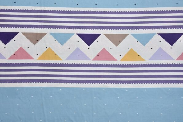 Colorful Triangles Skyblue Supersoft Double Bedsheet Fullview