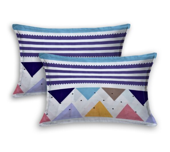 Colorful Triangles Skyblue Supersoft Double Bedsheet Pillow Covers