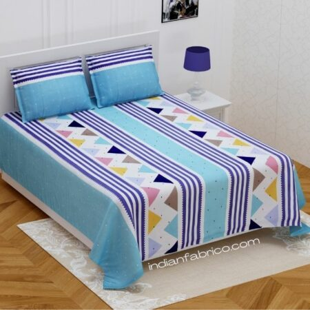 Colorful Triangles Skyblue Supersoft Double Bedsheet with 2 Pillow Covers