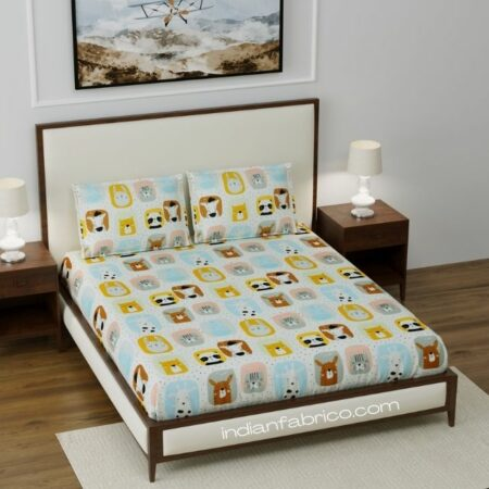 Cutest Kids Supersoft Fitted Double Bedsheet with 2 Pillow Covers