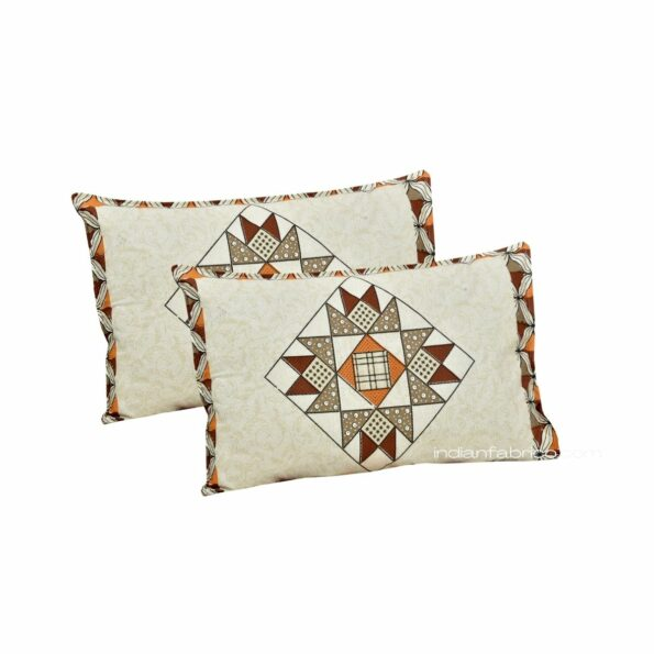 Ethnic Cream Small Geometric Pure Cotton King Size Bedsheet Pillow