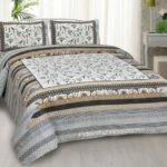 Ethnic Grey Floral Pure Cotton King Size Bedsheet