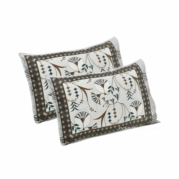 Ethnic Grey Floral Pure Cotton King Size Bedsheet Pillow