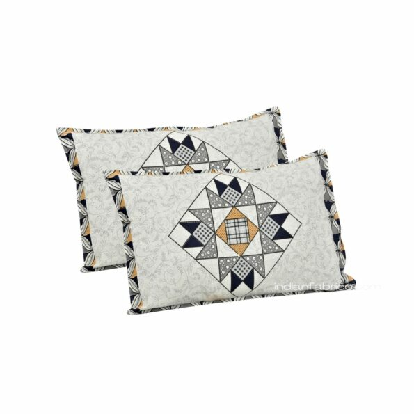 Ethnic Grey Small Geometric Pure Cotton King Size Bedsheet Pillows