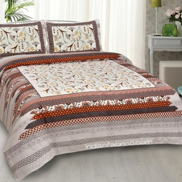 Ethnic Maroon Floral Pure Cotton King Size Bedsheet