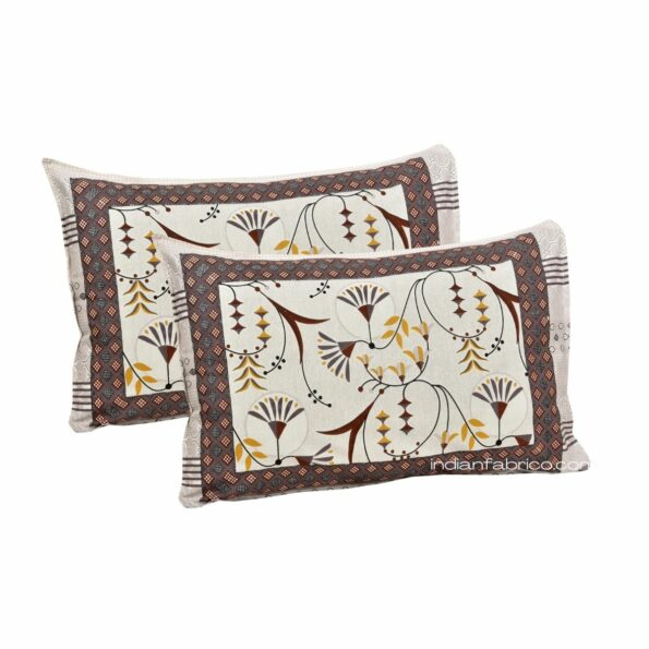 Ethnic Maroon Floral Pure Cotton King Size Bedsheet Pillows