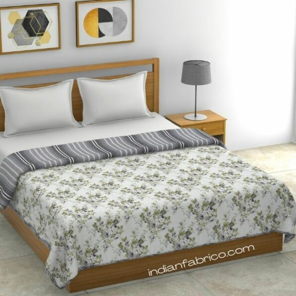 Indian Fabric Flowers Bunch Pure Cotton Reversible Double Bed Dohar