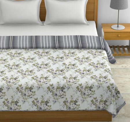 Indian Fabrico Flowers Bunch Pure Cotton Reversible Double Bed Dohars