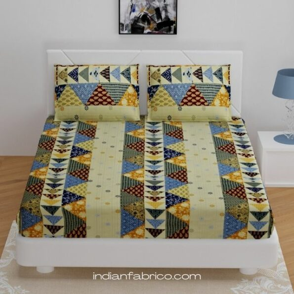 Indian Fabrico Barmeri Print Triangle Shape King Size Fitted Bedsheet with Two Pillow Covers