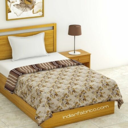 Dark Brown Flowers Bunch Pure Cotton Reversible Single Bed Dohar