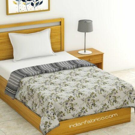 Flowers Bunch Pure Cotton Reversible Single Bed Dohar