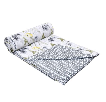 Indian Fabrico Grey Flower Reversible Pure Cotton Bed Dohar