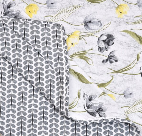 Indian Fabrico Grey Flower Reversible Pure Cotton Bed Dohar Back