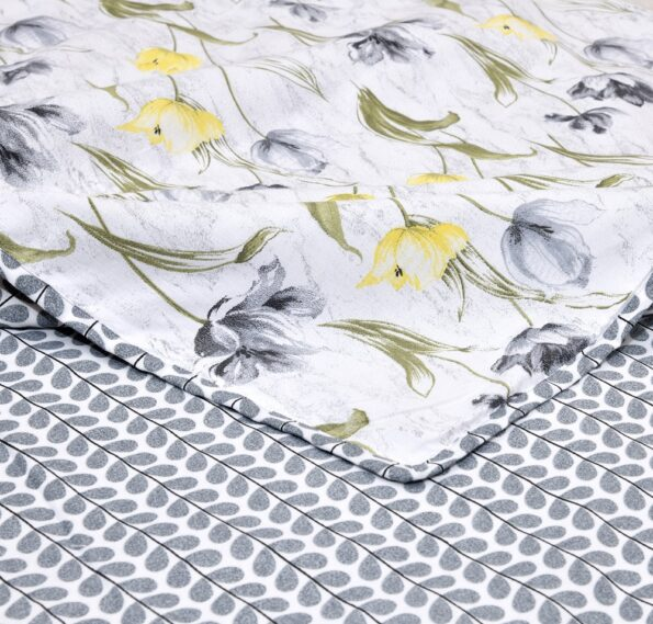 Indian Fabrico Grey Flower Reversible Pure Cotton Bed Dohar front