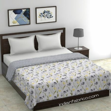 Indian Fabrico Grey Flower Reversible Pure Cotton Double Bed Dohar
