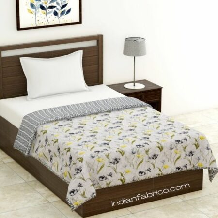 Grey Flower Reversible Pure Cotton Single Bed Dohar