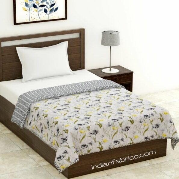 Indian Fabrico Grey Flower Reversible Pure Cotton Single Bed Dohar