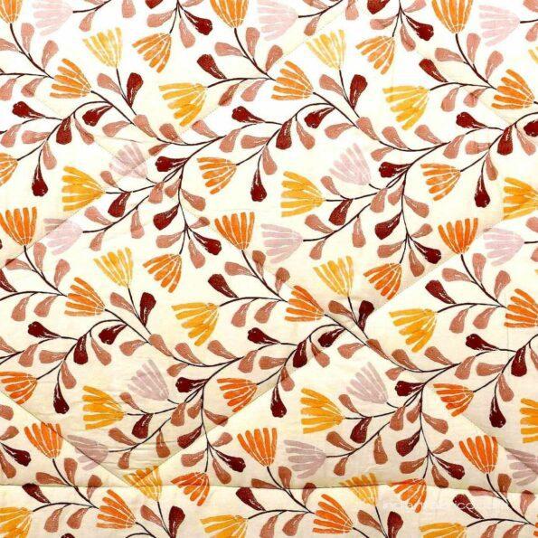Indian Fabrico Lata Climber Cream Floral Double Bed Comforter Closeup
