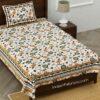 Jaipuri Green Floral Print Single Bedsheet