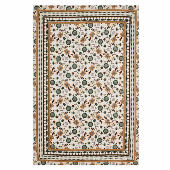 Jaipuri Green Floral Print Single Bedsheet Full