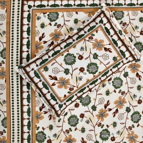 Jaipuri Green Floral Print Single Bedsheet Fullview