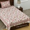 Jaipuri Pink Floral Print Single Bedsheet