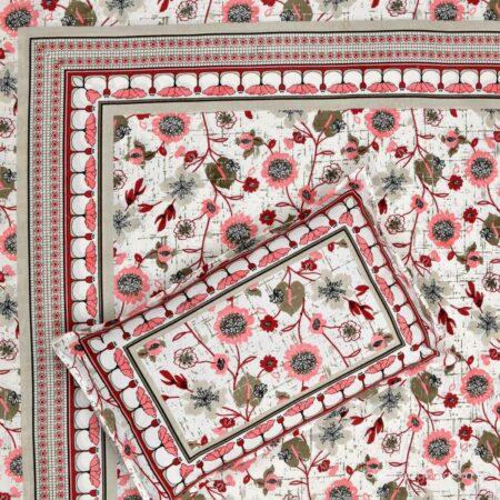 Jaipuri Pink Floral Print Single Bedsheet Front