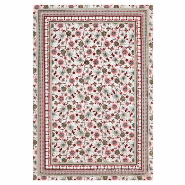 Jaipuri Pink Floral Print Single Bedsheet Fullview