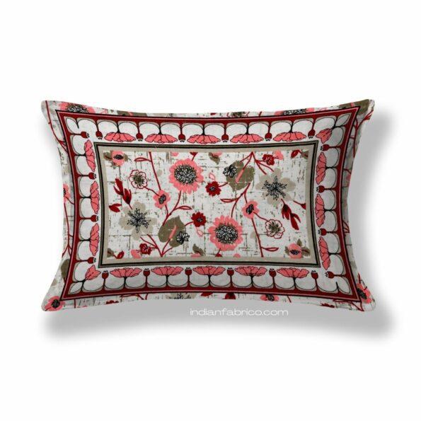 Jaipuri Pink Floral Print Single Bedsheet Pillow